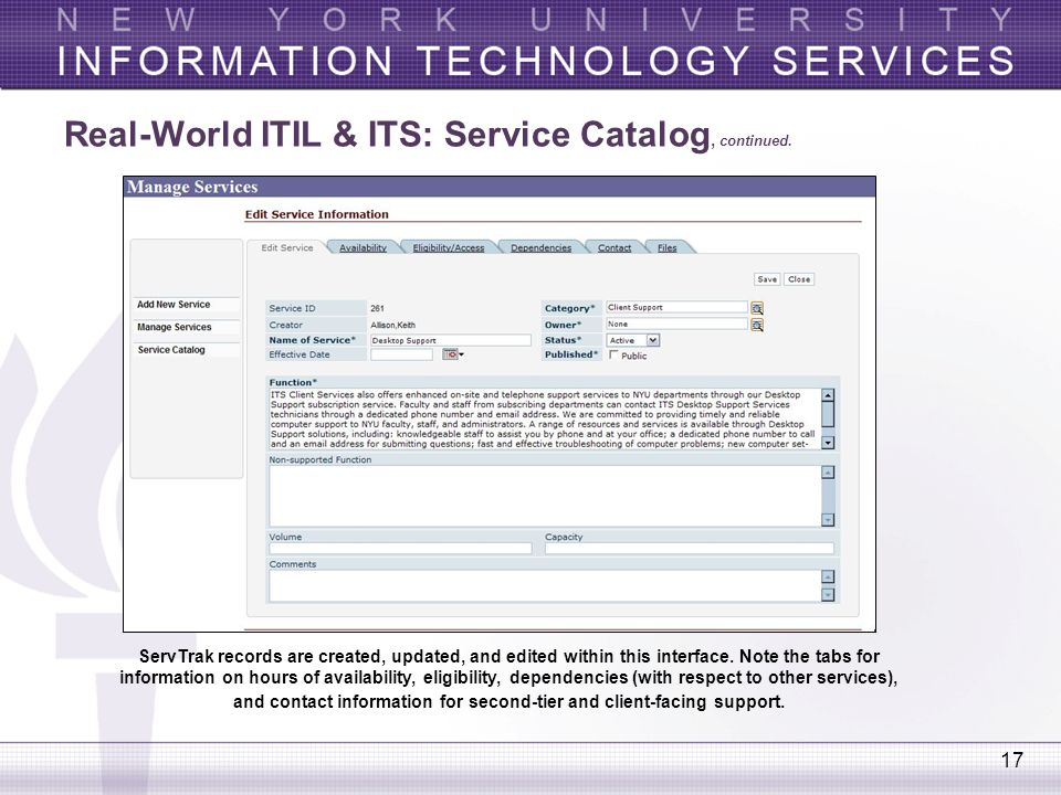 Real-World ITIL & ITS: Service Catalog, continued.