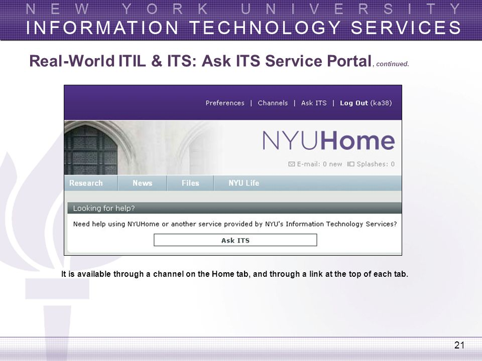 Real-World ITIL & ITS: Ask ITS Service Portal, continued.