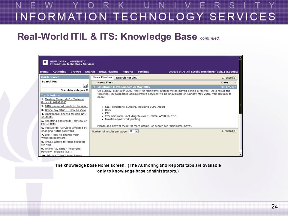 Real-World ITIL & ITS: Knowledge Base, continued.