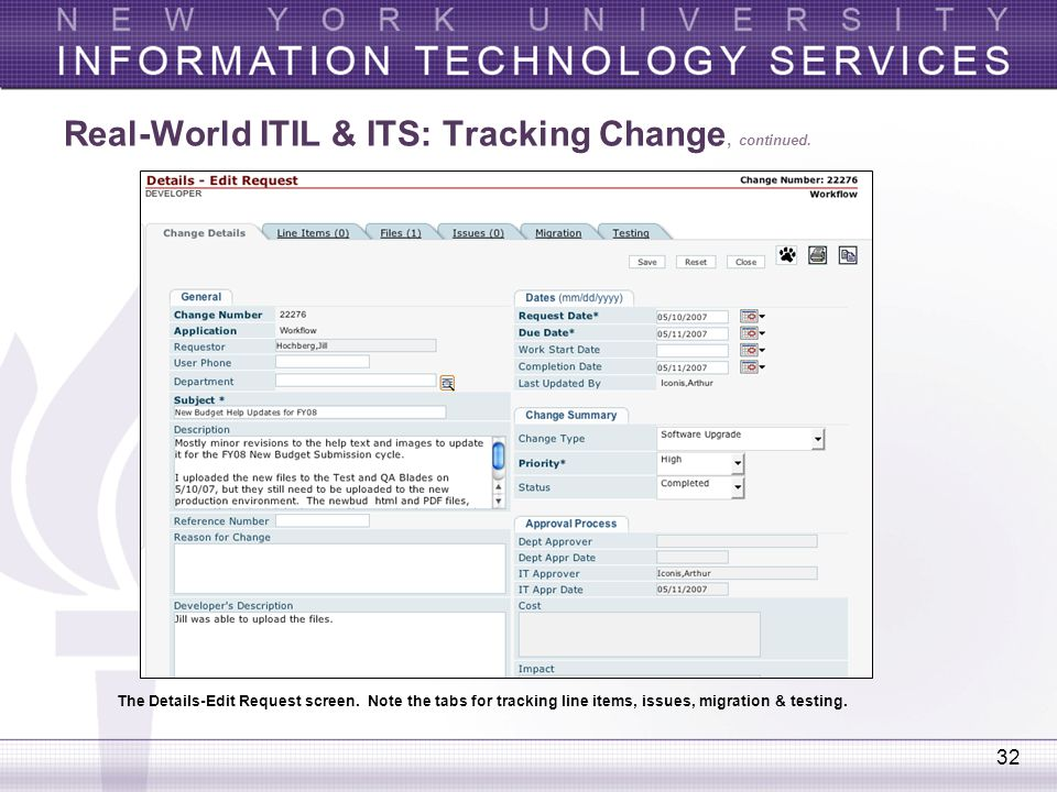 Real-World ITIL & ITS: Tracking Change, continued.