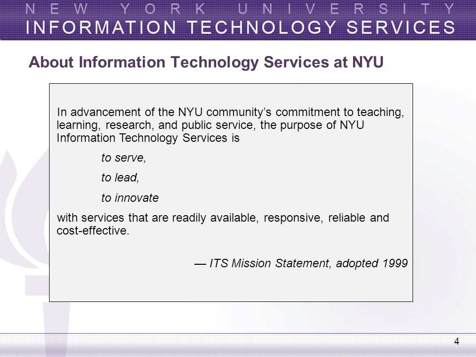 About Information Technology Services at NYU