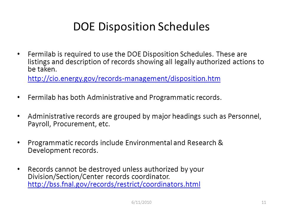 DOE Disposition Schedules