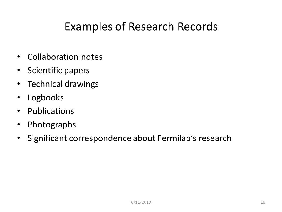 Examples of Research Records