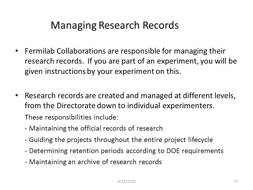 Managing Research Records