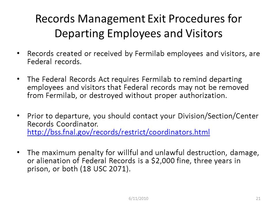 Records Management Exit Procedures for Departing Employees and Visitors
