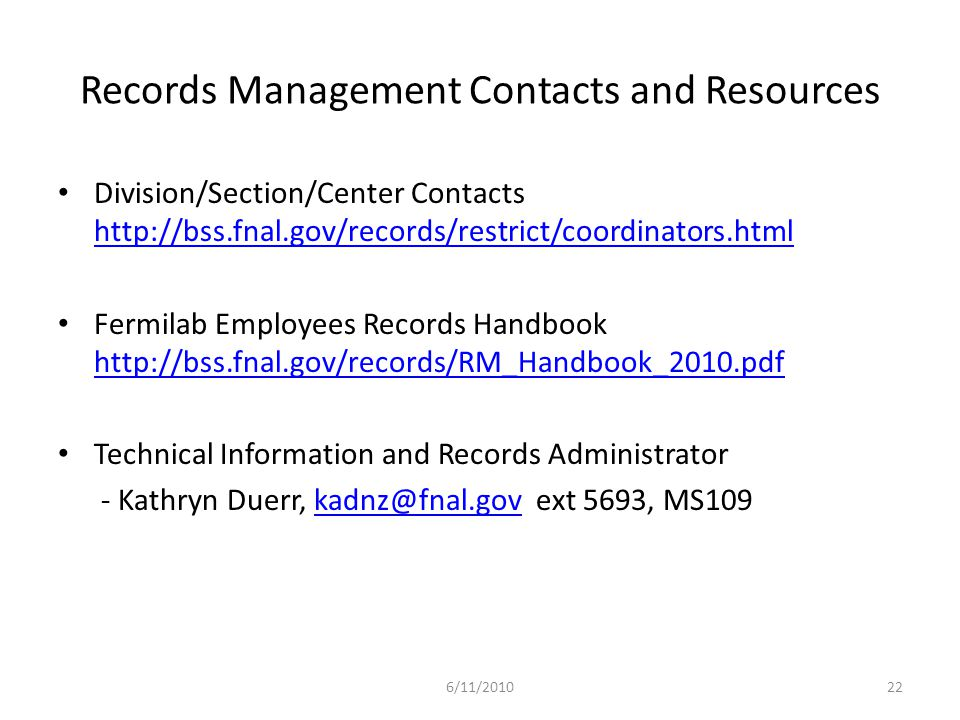 Records Management Contacts and Resources