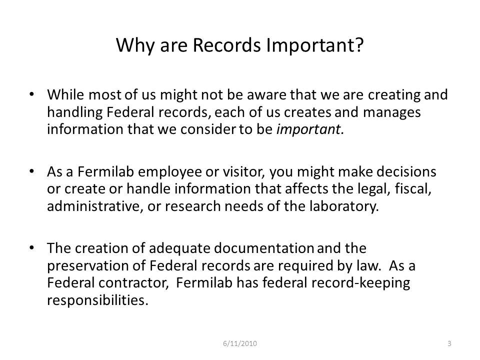 Why are Records Important