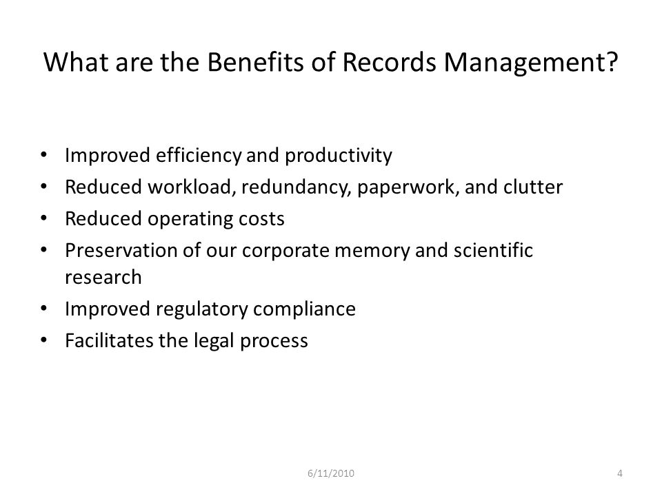 What are the Benefits of Records Management