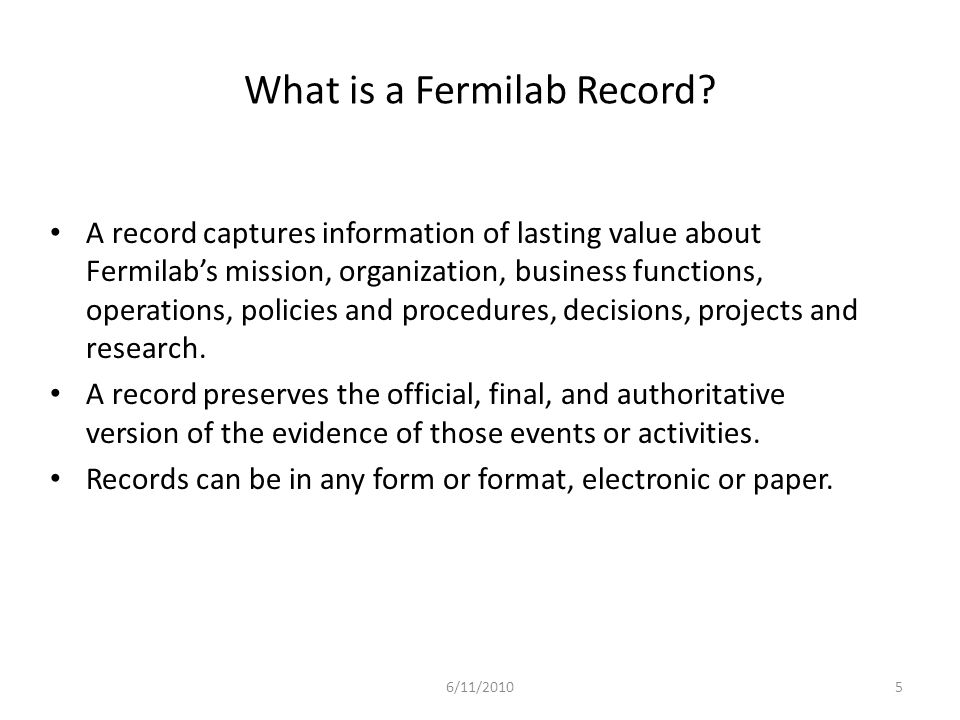 What is a Fermilab Record