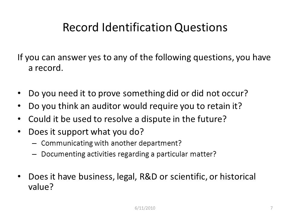 Record Identification Questions