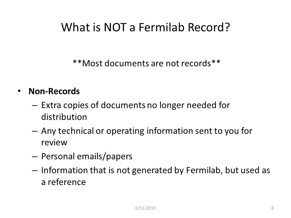 What is NOT a Fermilab Record