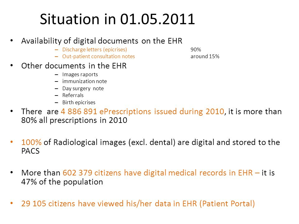 Situation in 01.05.2011 Availability of digital documents on the EHR
