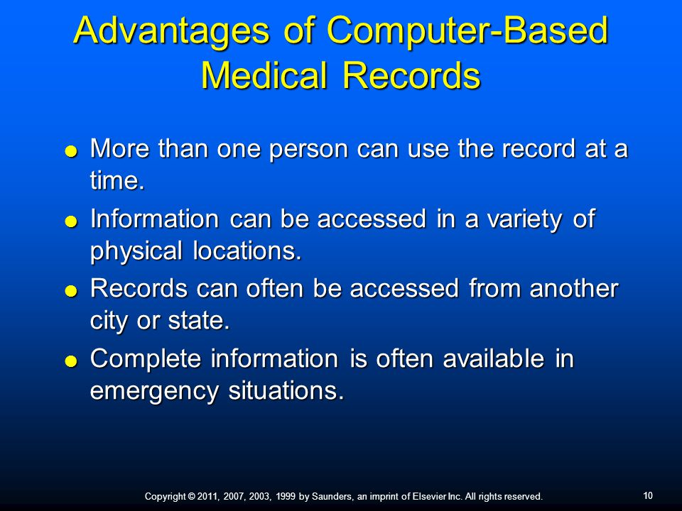 Advantages of Computer-Based Medical Records