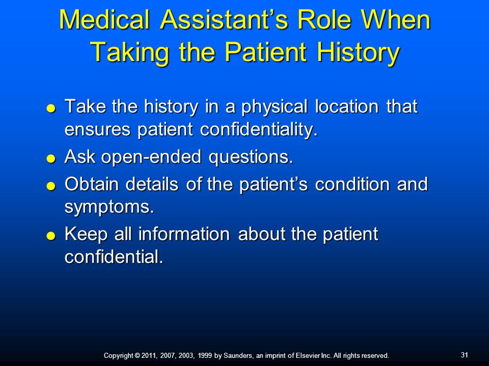 Medical Assistant's Role When Taking the Patient History