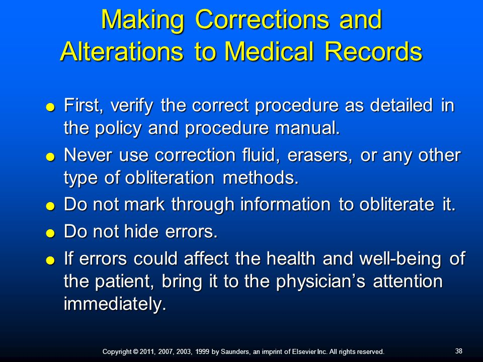 Making Corrections and Alterations to Medical Records