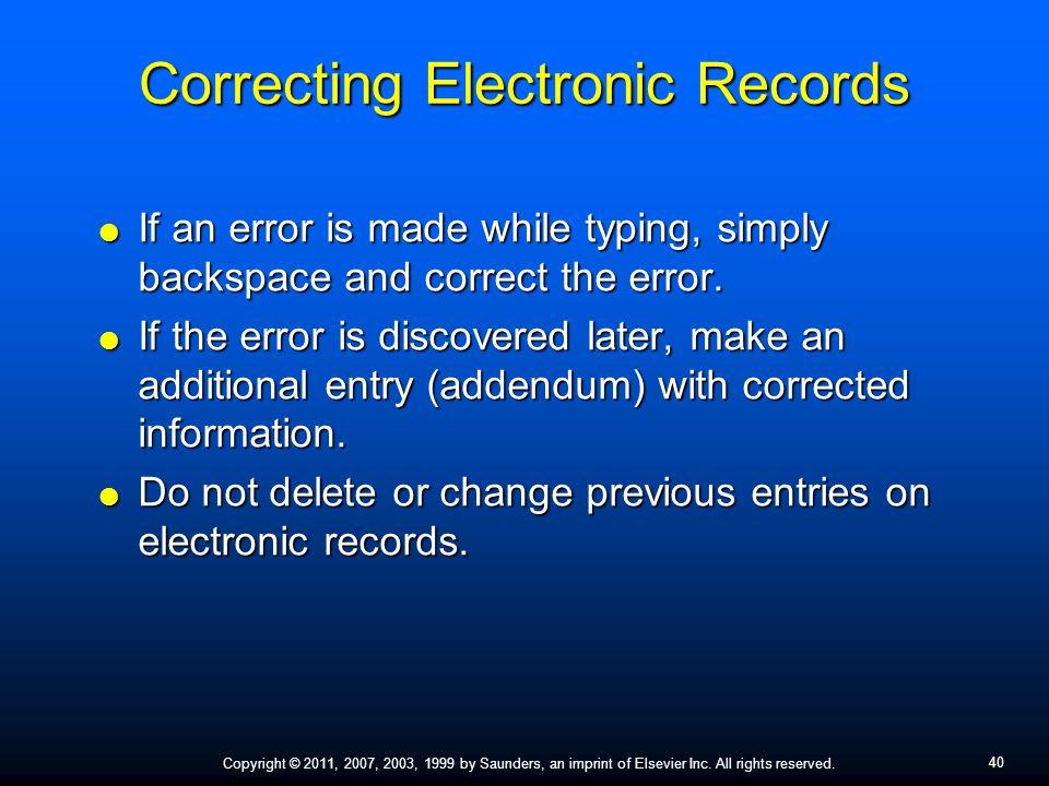 Correcting Electronic Records