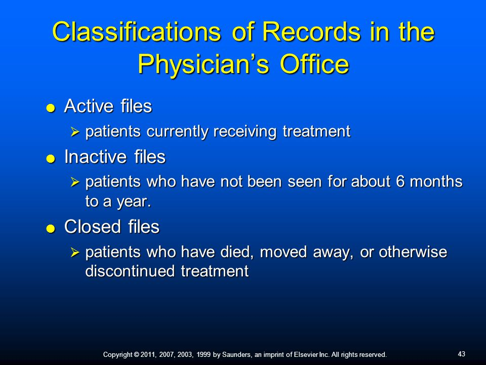 Classifications of Records in the Physician's Office