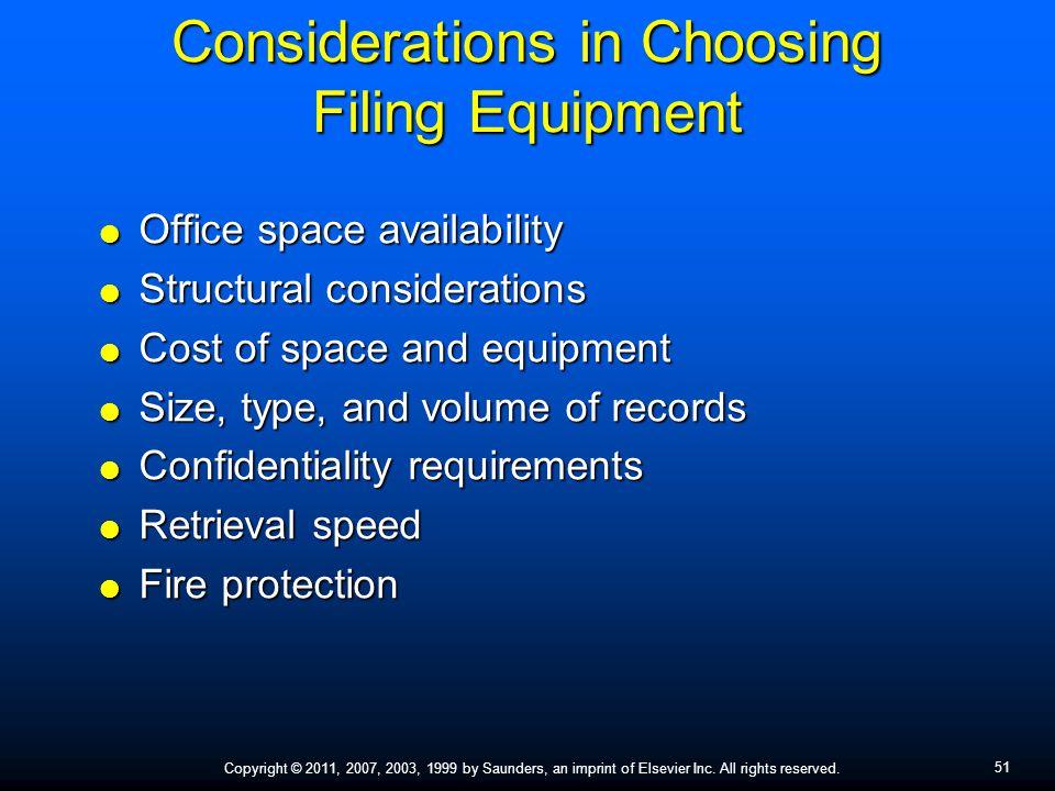 Considerations in Choosing Filing Equipment