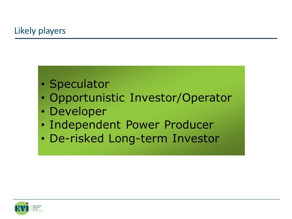 Opportunistic Investor/Operator Developer Independent Power Producer