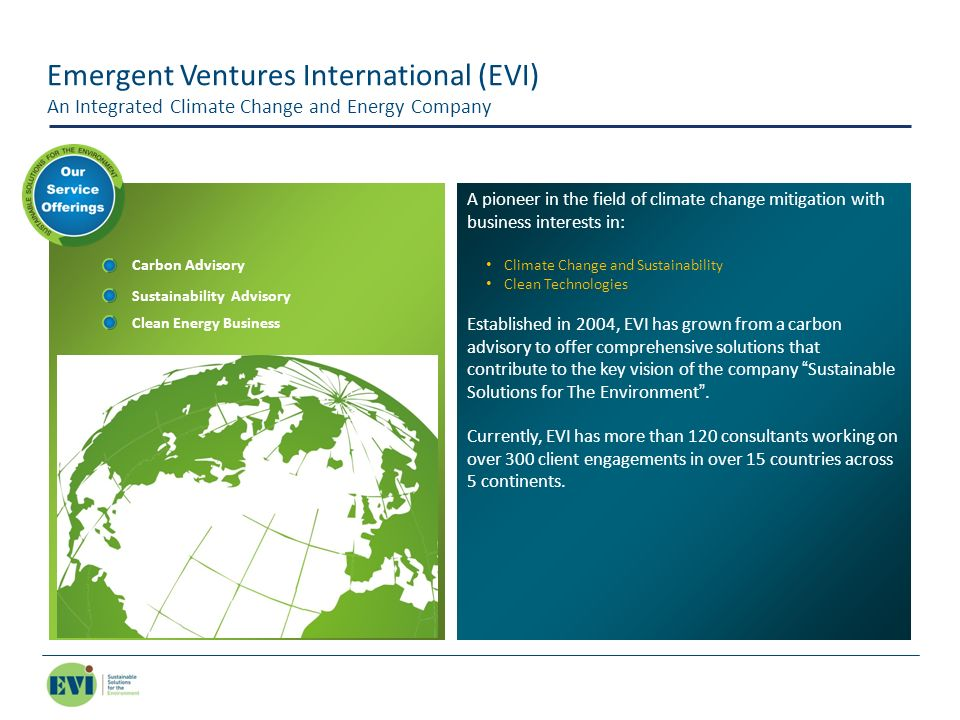 Emergent Ventures International (EVI) An Integrated Climate Change and Energy Company