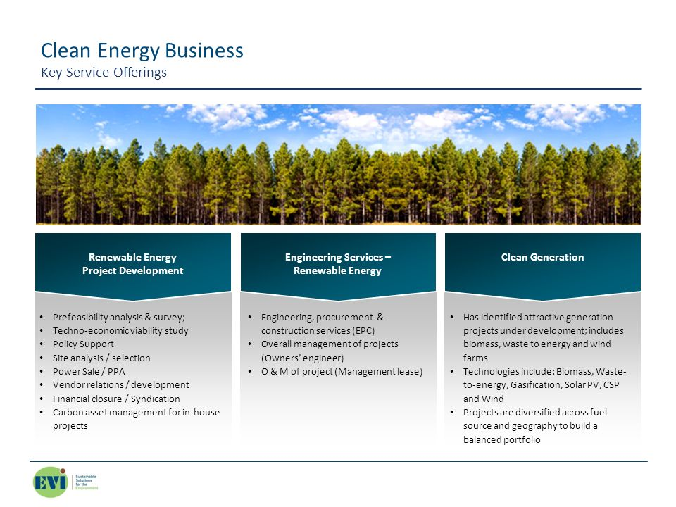 Clean Energy Business Key Service Offerings