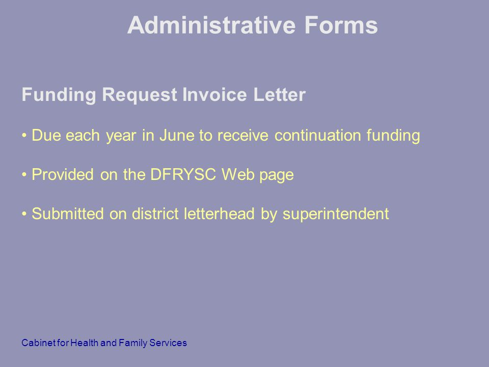 Administrative Forms Funding Request Invoice Letter