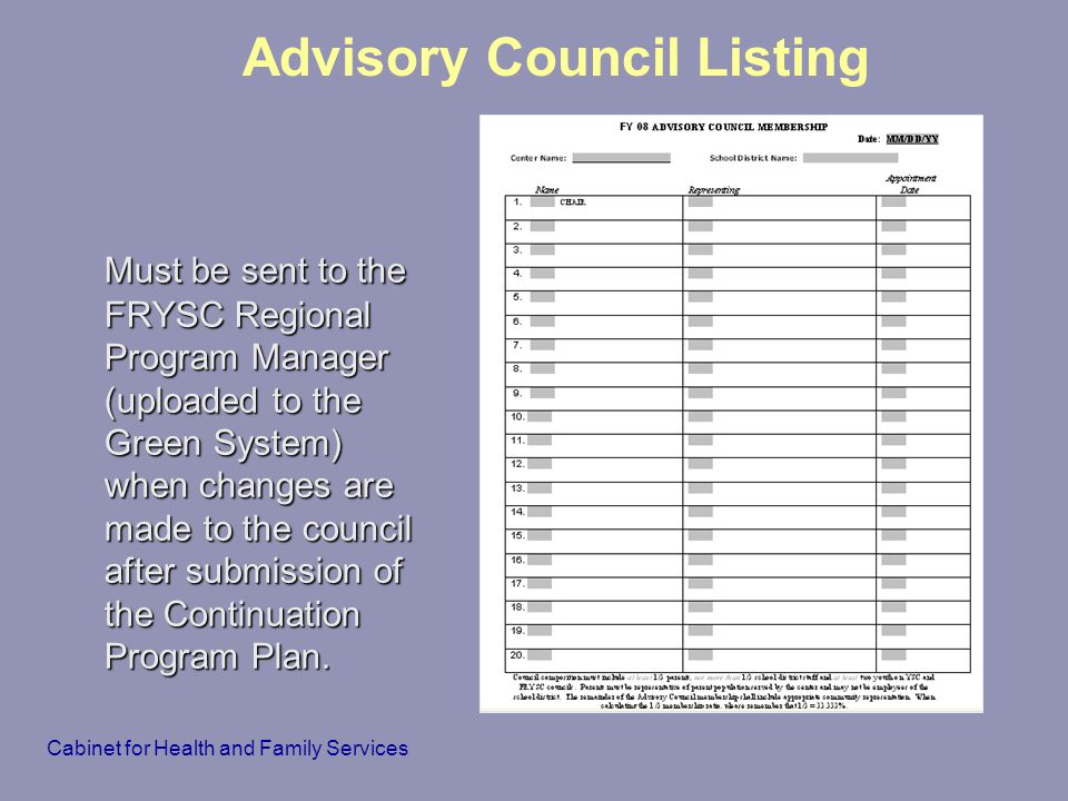 Advisory Council Listing