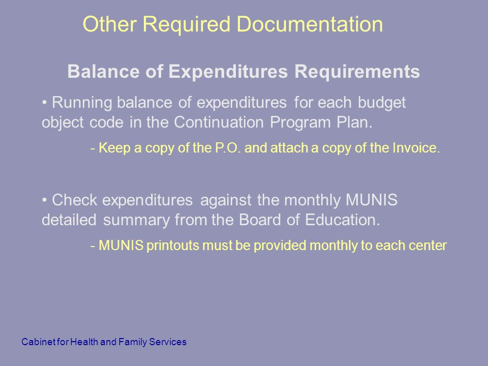 Balance of Expenditures Requirements
