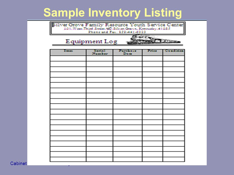 Sample Inventory Listing