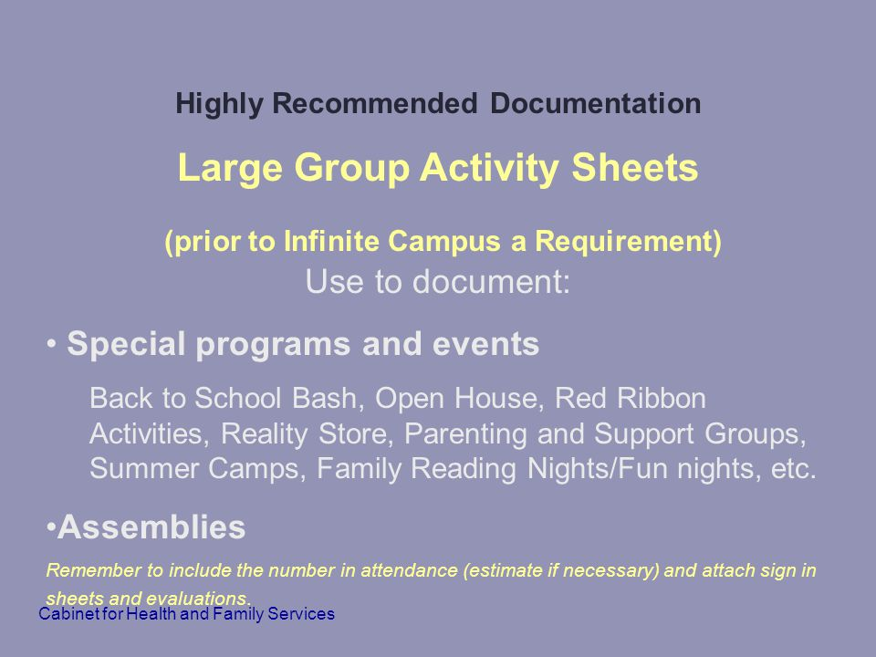 Highly Recommended Documentation Large Group Activity Sheets