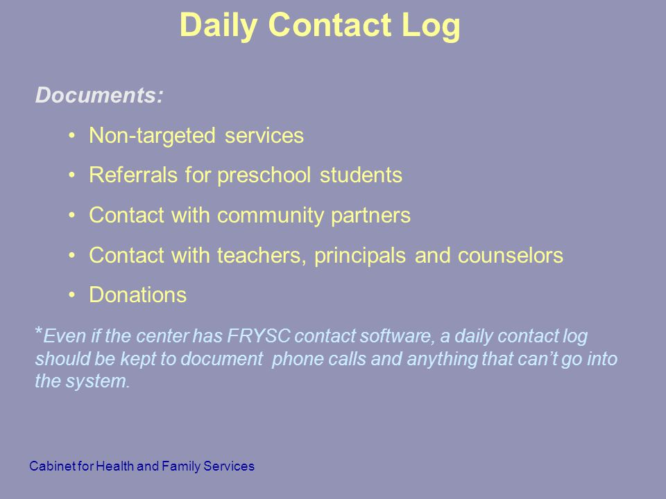 Daily Contact Log Documents: Non-targeted services