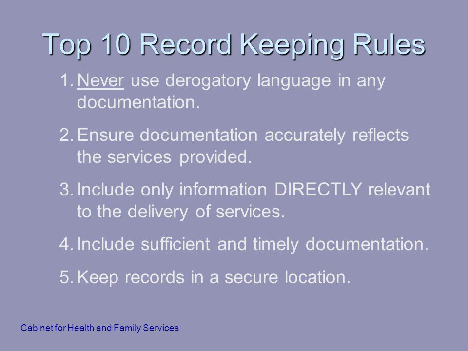 Top 10 Record Keeping Rules