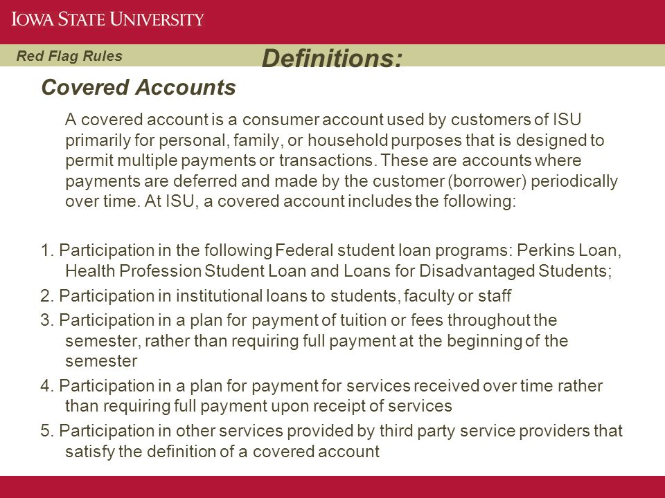 Definitions: Covered Accounts