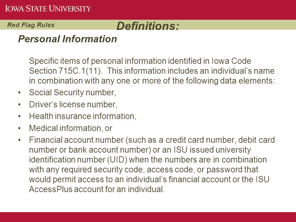 Definitions: Personal Information