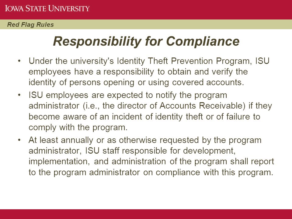 Responsibility for Compliance