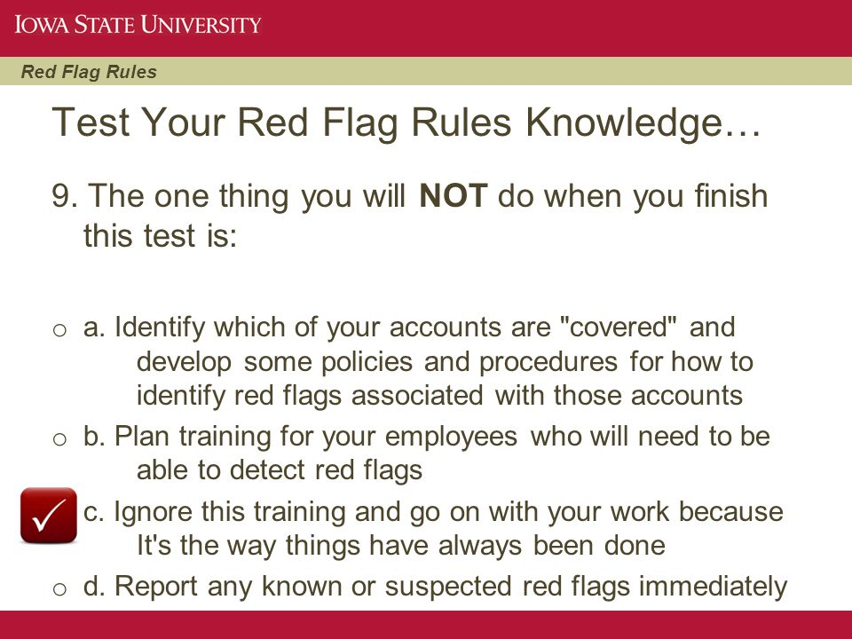 Test Your Red Flag Rules Knowledge…