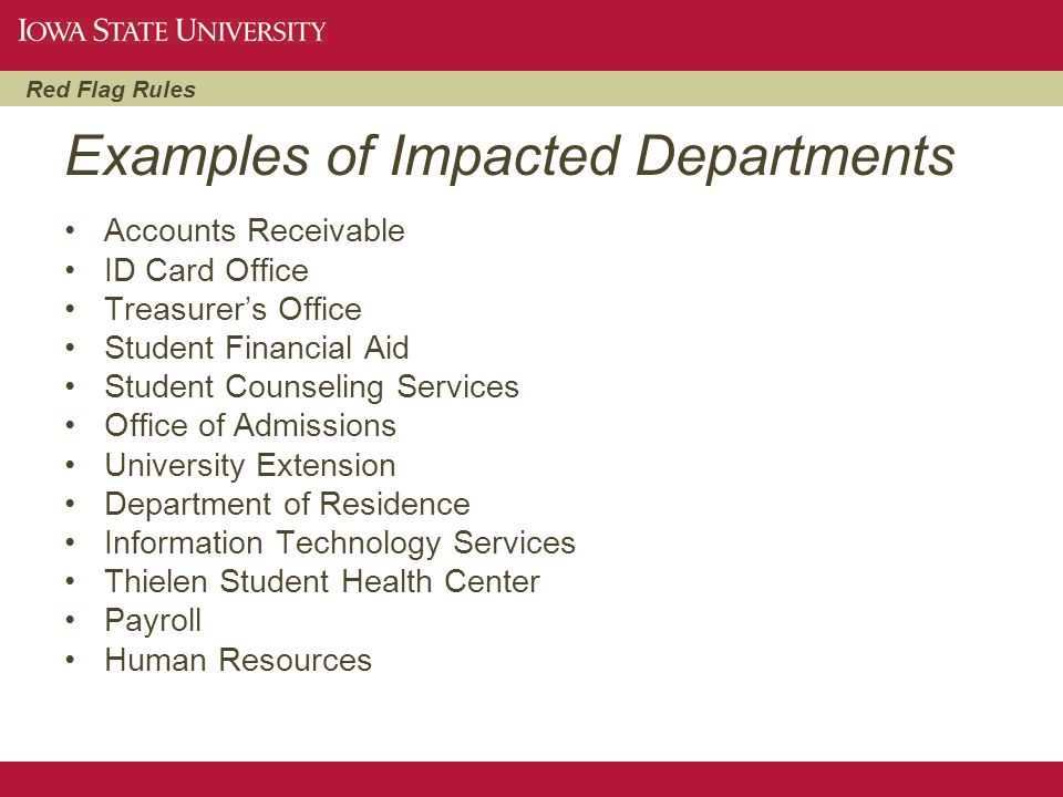 Examples of Impacted Departments