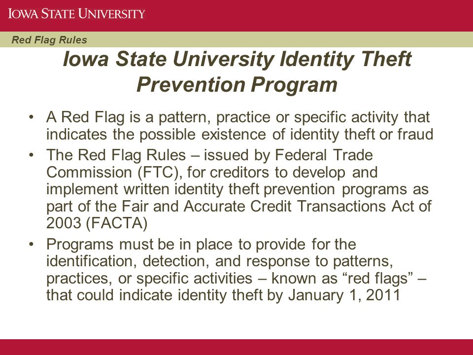 Iowa State University Identity Theft Prevention Program