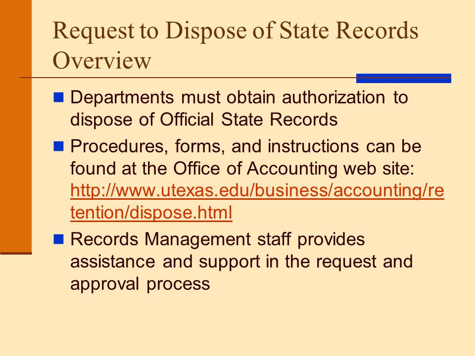 Request to Dispose of State Records Overview