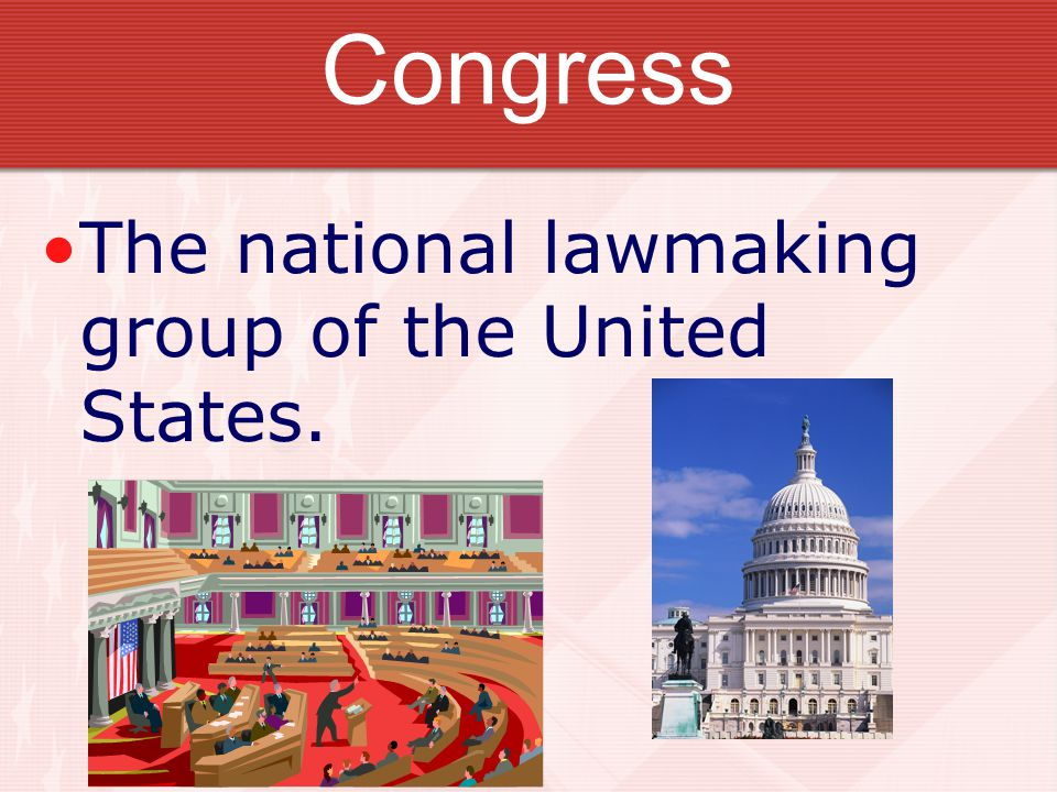 Congress The national lawmaking group of the United States.