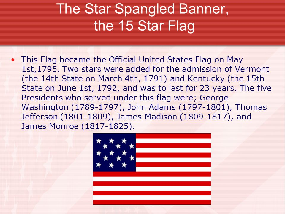 The Star Spangled Banner, the 15 Star Flag