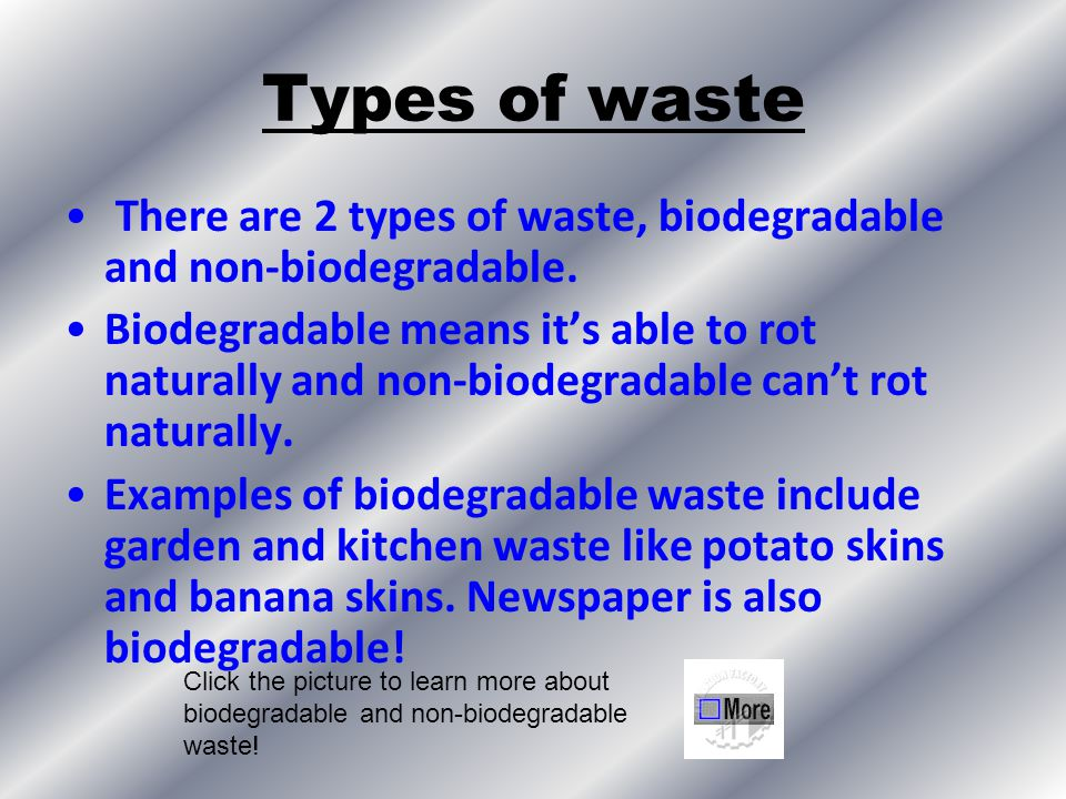 Types of waste There are 2 types of waste, biodegradable and non-biodegradable.