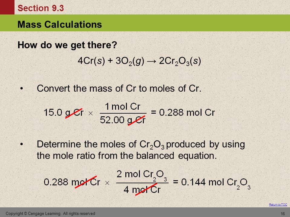 Convert the mass of Cr to moles of Cr.