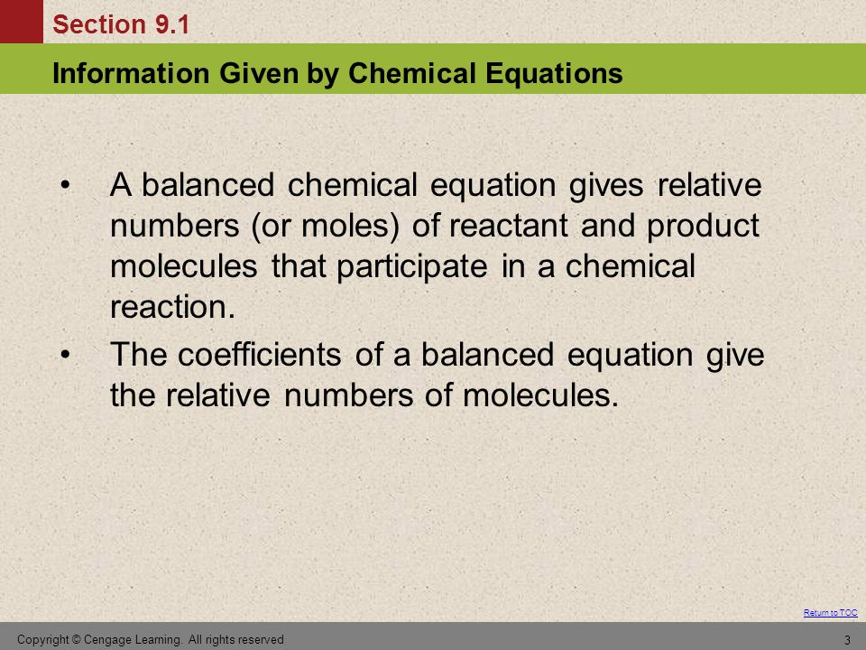 A balanced chemical equation gives relative numbers (or moles) of reactant and product molecules that participate in a chemical reaction.