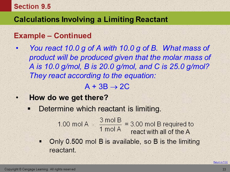 Determine which reactant is limiting.