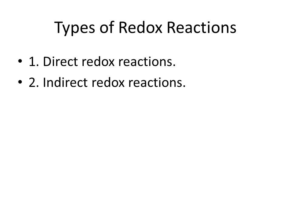 Types of Redox Reactions