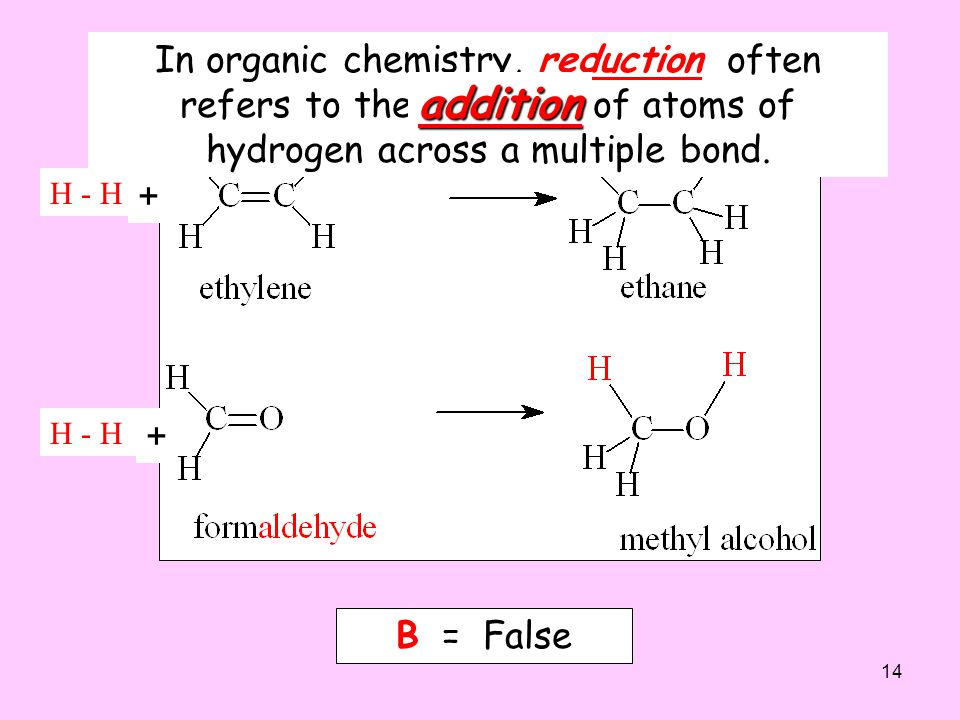 In organic chemistry, reduction often refers to the removal of atoms of hydrogen across a multiple bond.