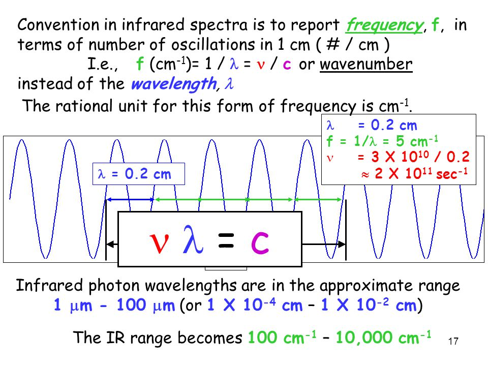 Convention in infrared spectra is to report frequency, f, in terms of number of oscillations in 1 cm ( # / cm )