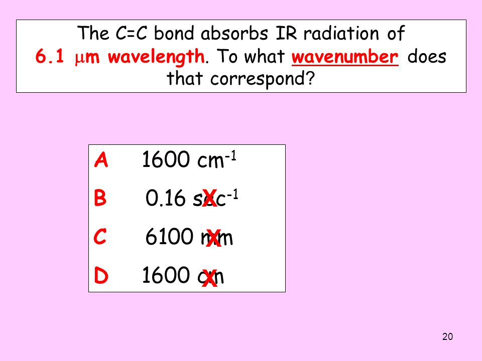 The C=C bond absorbs IR radiation of