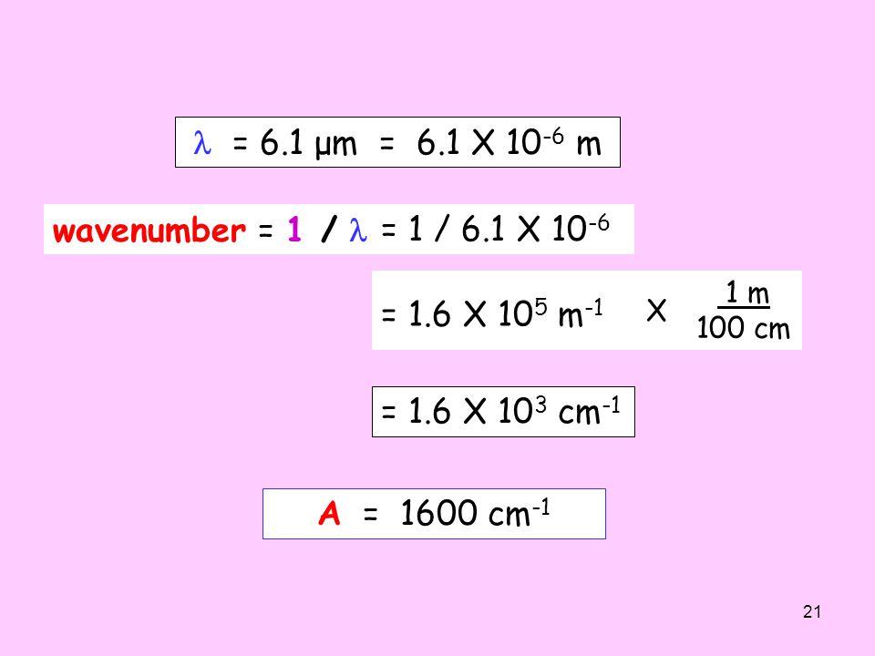  = 6.1 μm = 6.1 X 10-6 m wavenumber = 1 /  = 1 / 6.1 X 10-6